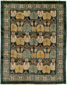 Craftsman Reproduction Hand-Knotted Rug. Magnolia has a wonderful feeling of lightness and delicacy. It is perhaps one of the most stylized of Voysey's carpet designs, and yet the original design source, the leaves and blossoms of the magnolia tree, are clearly recognizable. Again, Voysey creates a skillful interplay of scale between the border and the field. Our artists' use of colour placement to further define the design was inspired by the repeating patterns in antique Eastern carpets…