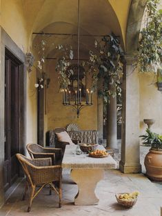 Palazzo Labèque restored and decorated by Axel Vervoordt. Photo by Simon Upton. Outdoor Areas, Outdoor Seating, Outdoor Rooms, Outdoor Dining, Outdoor Decor, Italian Country Decor, Porches, Mediterranean Home Decor, Tuscan Style