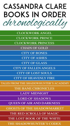 Watched the Shadowhunters TV show? Interested in reading the books, but don't know where to start? Here is a list of all Cassandra Clare books in order. Shadow Hunters Book, Shadowhunters Tv Show, Shadowhunters Books In Order, Cassandra Clare Books, Book Challenge, Fantasy Books, Best Fantasy Book Series, Fantasy Comics, Tv Series