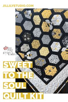 Stay home and sew with this darling quilt kit from Jillily Studio! Hexagon Quilting, Hexagon Quilt Pattern, Hexagon Patchwork, Quilt Square Patterns, Quilt Patterns Free, Scrappy Quilts, Easy Quilts, Quilt Kits, Quilt Blocks