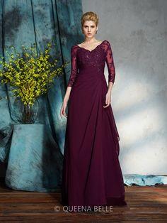 Trapézio/Princesa Decote em V Luva de Comprimento de 3/4 Até ao chão De chiffon Vestidos Mãe da Noiva