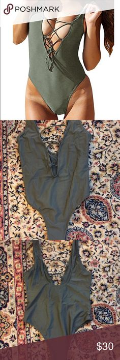 Sexy Army Green Lace-up One Piece Never been worn - in perfect condition! Says it's a large but fits like a bigger medium, size chart posted! Swim One Pieces