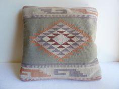 Southwestern Pillow - Navajo Style Woven Pattern in Pastel Desert Colors