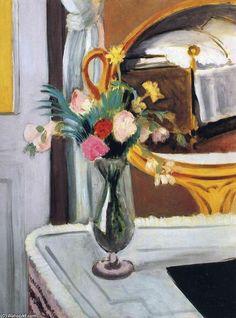 """""""o cama no espelho"""", óleo sobre tela por Henri Matisse (1869-1954, France)"""
