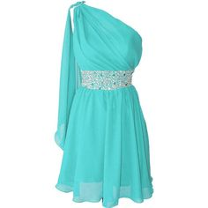 Okaybridal Women's One Shoulder Prom Dress Short Bridesmaid Gowns for... ($70) ❤ liked on Polyvore featuring dresses, blue bridesmaid dresses, prom dresses, blue dress, short dresses and bridesmaid dresses
