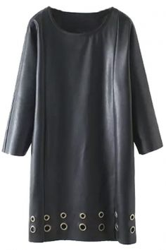 Metallic Holes Detail 3/4 Length Sleeve Shift PU Dress