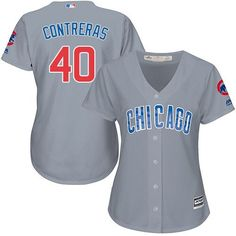 6ce7785ff19 Chicago Cubs Women s Wilson Contreras Majestic alternate away gray Cool  Base jersey