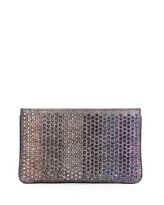 L0NZ8 Christian Louboutin Loubiposh Colorblock Spiked Clutch Bag, Multi