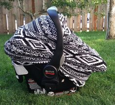 Stretchy Car Seat Cover Canopy Gender Neutral Black Amp White Aztec Tribal