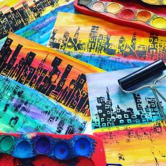 "253 Likes, 11 Comments - Laura Lohmann (@paintedpaperart) on Instagram: ""Big city skylines! Watercolor paper with Faber Castell connector set paints. Students love these…"""