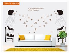 New Arrival Flying Dandelion Wall sticker Little Girls Removable Decal Wall Art  home decor Size 50x70cm  Free Shipping