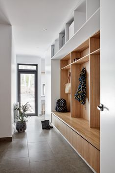 The Double Happiness house by GLOW design group was designed to blend with the surrounding corrugated sheds whilst also feeling like a home. Mudroom Laundry Room, Laundry Room Design, Flur Design, Hallway Designs, House Entrance, Home Reno, My Living Room, My New Room, My Dream Home