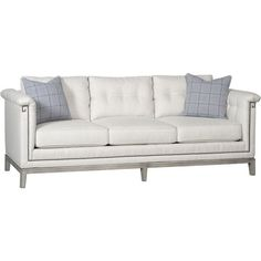 Agneta Regency Greek Key Nailhead Button Tuft Sofa ($4,392) ❤ liked on Polyvore featuring home, furniture, sofas, cream sofa, ivory couch, ivory sofa, nailhead trim couch and off white couch