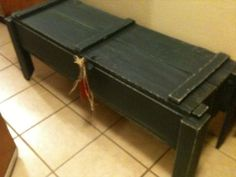 Ammo Box Bench. I like this idea it's not everyone who has an ammo box in the garage like this but I do. cool!