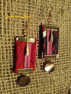 (1) Boucles pendantes en tissu imprimé wax bleu fushia et lanière cuir rose - Afrikrea