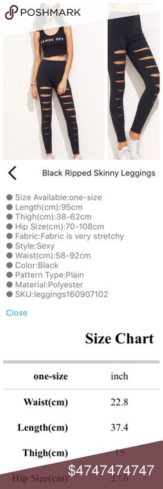 """Coming Soon Skinny Black Ripped Leggings!  Coming Soon Skinny Black Ripped Leggings! Super on trend! See all details and size chart above in photos.  Polyester. Price firm unless bundled. """"Like"""" to be notified when these arrive! TonisTwinkles Pants Leggings"""
