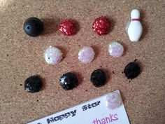 Vintage Bowling Ball and Pin Earring Thumbtack by TheHappyStar