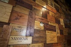 restaurant wall, North Carolina. Wine crate panels.