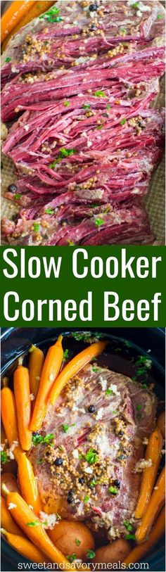 Slow Cooker Corned Beef is the easiest recipes ever. All you have to do is add all the ingredients to the slow cooker and let it work its magic. #slowcooker #beef