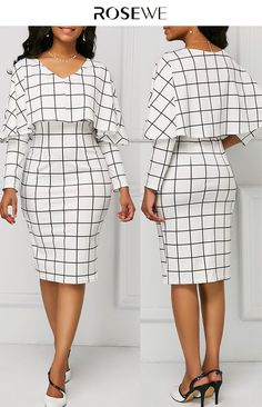 White V Neck Grid Print Cape Sheath Dress – Casual Dress Outfits African Print Fashion, African Fashion Dresses, African Dress, Dress Outfits, Casual Dresses, Fashion Outfits, Womens Fashion, Elegant Dresses, Dress Fashion