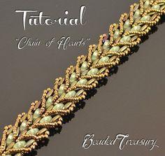Chain of Hearts beading pattern beaded bracelet by BeadedTreasury