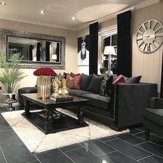 Interior Design Ideas For The Living Room~ Neutral With A Pop Of Red. From  Instagram · How To Decorate Around The Black Leather Couch