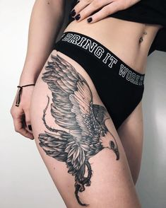 bw flying eagle tattoo on hip #Regram via @nora_ink