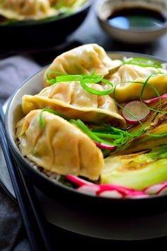 These Smoky Tofu Potstickers are plant-based and loaded with flavor. Served over rice with seared bok choy for a full meal. Vegan Samosa Recipes, Tofu Recipes, Asian Recipes, Healthy Recipes, Chinese Recipes, Chinese Food, Healthy Food, Vegan Appetizers, Vegan Snacks