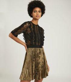 Athena Black/gold Lace Detailed Mini Dress – REISS