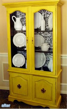 Happy yellow hutch makeover. betterafter.net, wrapping paper adhered to contact paper for the backing