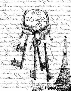 Graphics-the keys to Paris-reverse image