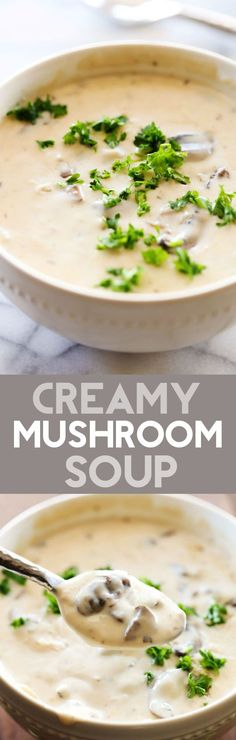 Creamy Mushroom Soup - This is a recipe that will completely wow all who try it! The flavor is undeniably delicious and the smooth texture is phenomenal! I also at times substitute either the half and half or the heavy cream for 6 oz of cream cheese. Creamy Mushroom Soup, Creamy Mushrooms, Stuffed Mushrooms, Garlic Mushrooms, Chili Recipes, Vegetarian Recipes, Cooking Recipes, Healthy Recipes, Soup And Sandwich