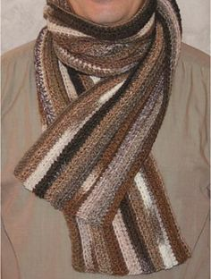 Ravelry: Easy men scarf pattern by Sophie GELFI Designs - free crochet download - merci Sophie!! Nice, there are too few patterns for men.