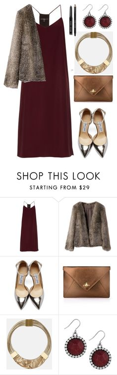 """slip dress(faux fur)"" by cly88 ❤ liked on Polyvore featuring TIBI, Jimmy Choo, Vivienne Westwood, Lafayette 148 New York, Lucky Brand, Bobbi Brown Cosmetics, women's clothing, women's fashion, women and female"