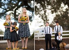 love the yellow pumps with a black and white dress