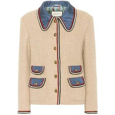 Wool-blend tweed jacket Gucci (35.656.930 IDR) ❤ liked on Polyvore featuring outerwear, jackets, floral jacket, stripe jacket, floral-print bomber jackets, striped jacket and gucci