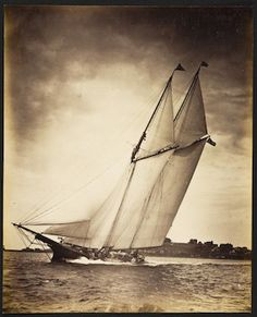 Gitana was a wooden keel schooner designed and built by D. J. Lawlor of Boston for William F. Weld in 1882. LOA 114.6ft. LWL 97.4ft. Beam 20.6ft. Nathaniel L. Stebbins photographic collection