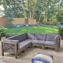 Ansel Outdoor 5 Piece Sectional Seating Group with Cushion Daybed Canopy, Patio Daybed, Patio Seating, Outdoor Furniture Sets, Outdoor Decor, Acacia Wood, Sofa Set, Cushions, Backyard