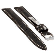 Rios Uhrenarmband Montana, schwarz, 22 mm, echtes Büffellederarmband.