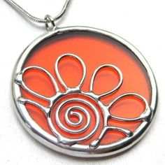 Daisy  round stained glass pendant by LingGlass on Etsy, $28.00