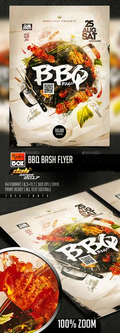 BBQ Bash Flyer — Photoshop PSD #cookout #green • Download ➝ https://graphicriver.net/item/bbq-bash-flyer/20457827?ref=pxcr