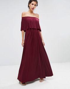 ASOS+WEDDING+Off+Shoulder+Frill+Maxi+Dress