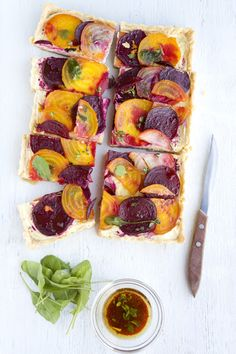 Vegetarian Tart with Crust of Flour, Salt, Sugar, & Butter; Topped with Beets in Marinade of Onion, Garlic, EVOO, Vinegar, & Thyme. #vegetarian #healthy #ef