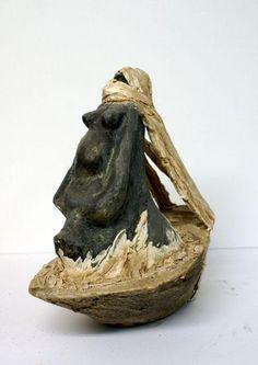 maternite-30-16-35cm-1.jpg - Sculpture,  16x35x30 cm ©2008 par Emilie Lacroix-Mathieu -            couple sculpture maternité