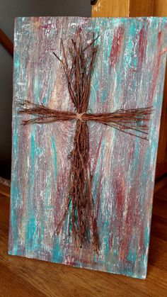 Distressed Barn Wood Cross Sign by ScrapSavvyDesigns on Etsy