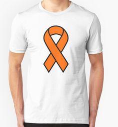 """Orange Kidney Cancer and Leukemia Ribbon"" T-Shirts & Hoodies by barrelroll1   Redbubble"