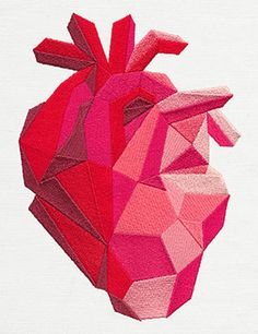 Faceted Anatomical Heart | Urban Threads: Unique and Awesome Embroidery Designs