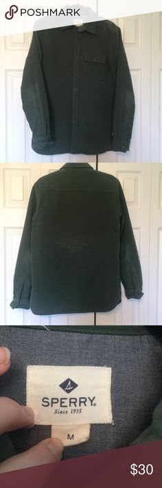 Sperry Dark Green Heavy Suede Jacket Perfect condition! My mom only wore this a couple of times, and then she found out it was a men's and didn't want to wear it anymore. It's suede material and heavy. Sperry Jackets & Coats