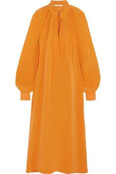 Tibi - Plissé Silk Crepe De Chine Midi Dress - Saffron - US10