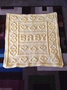 Crazy Hearts Baby Blanket pattern by Nancy Liggins Crazy hearts baby blanket. This pattern comes with baby boy, baby girl and baby. This pattern comes with baby boy, baby girl and baby. Bobble Stitch Crochet Blanket, Baby Afghan Crochet, Afghan Crochet Patterns, Baby Afghans, Crochet Crafts, Crochet Projects, Diy Crafts, Crochet Alphabet, Crochet Patron
